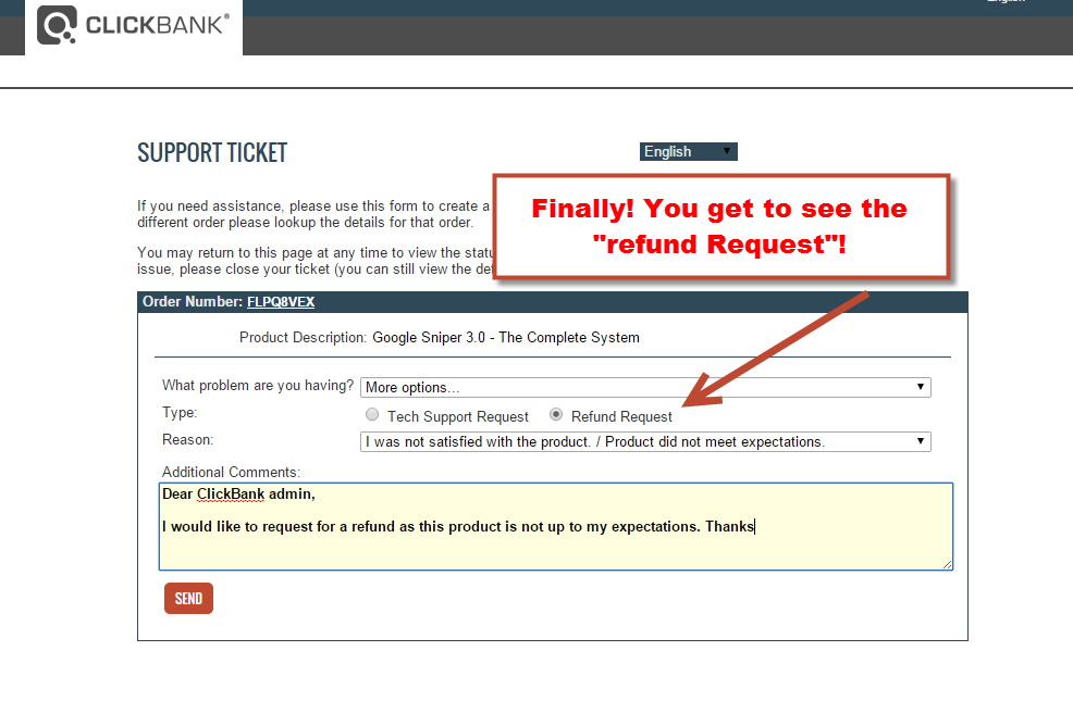 click on refund request