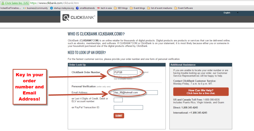 email and order number in clickbank