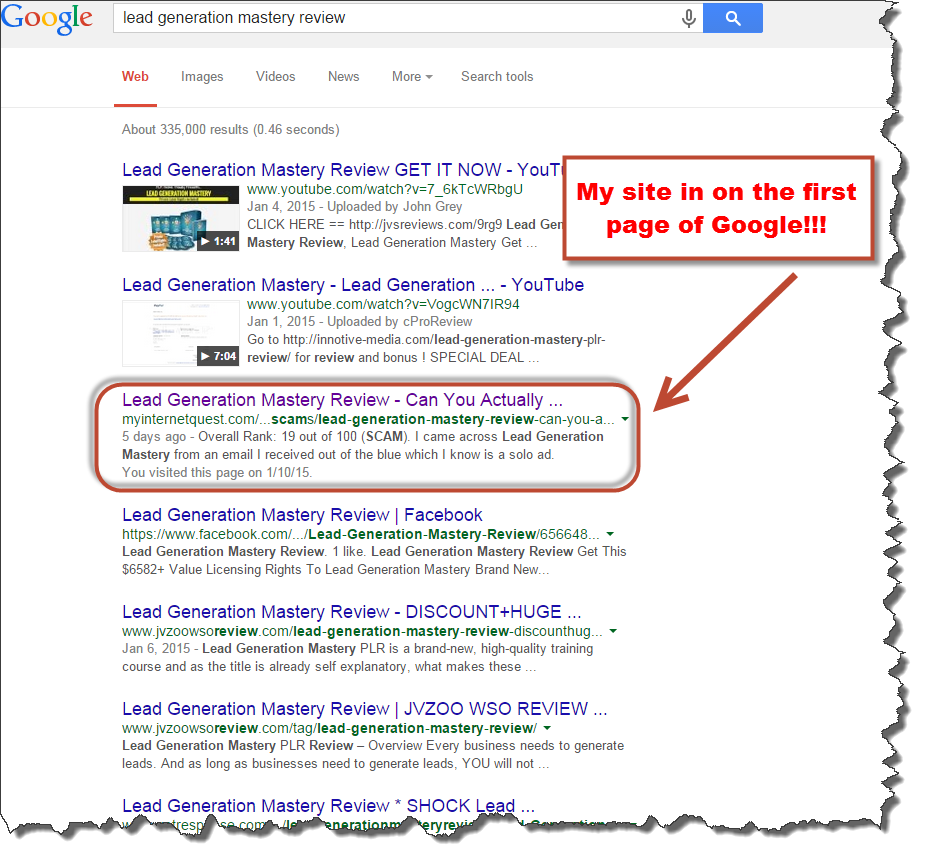 google search results for Lead generation review