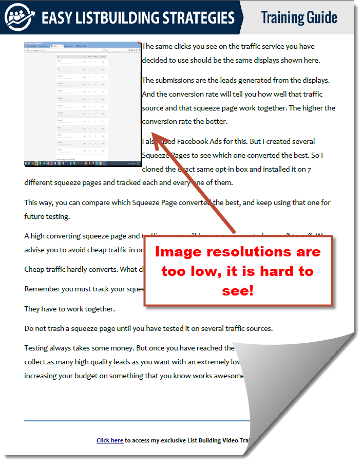 low resolution images on list building stratgies