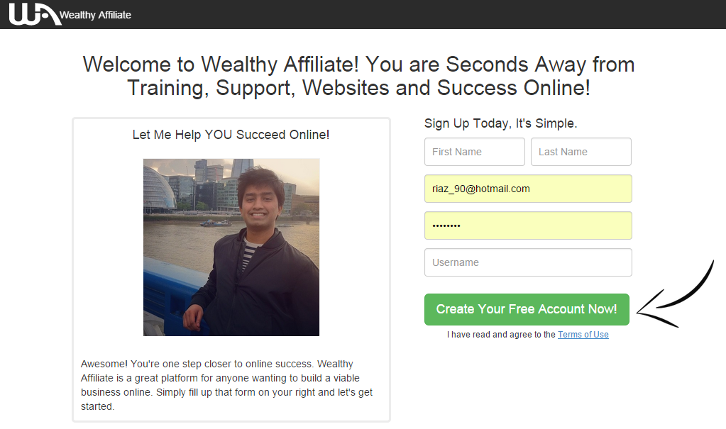 wealthy affiliate squeeze page