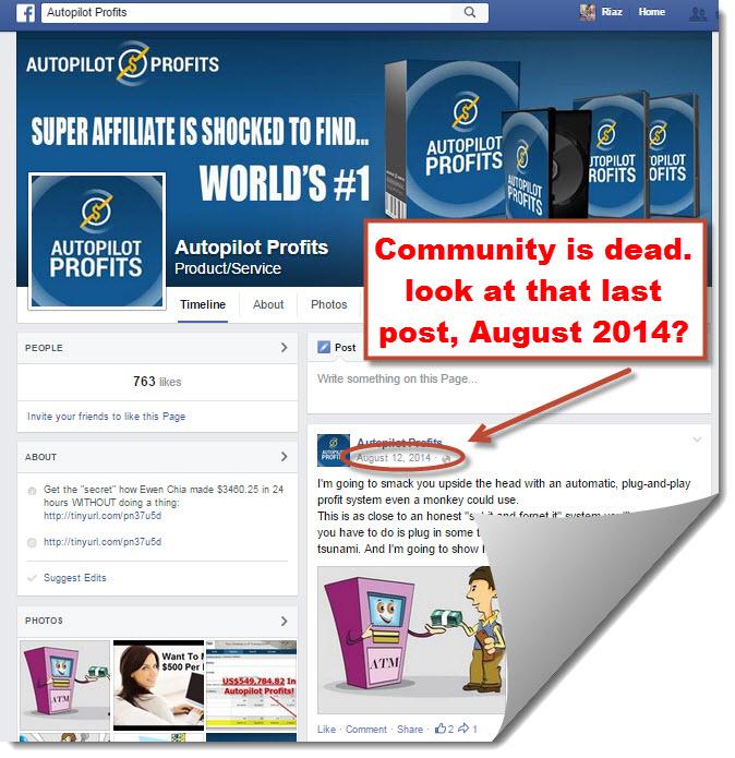 Autopilot profits facebook page
