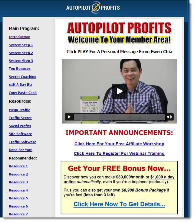 Autopilot profits member's area