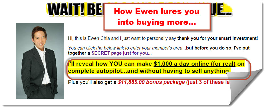 Ewen Chia's upsell trap