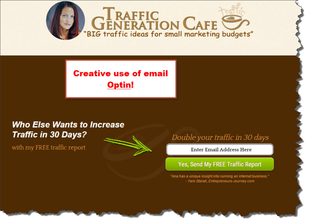 Traffic Generation Cafe's email optin