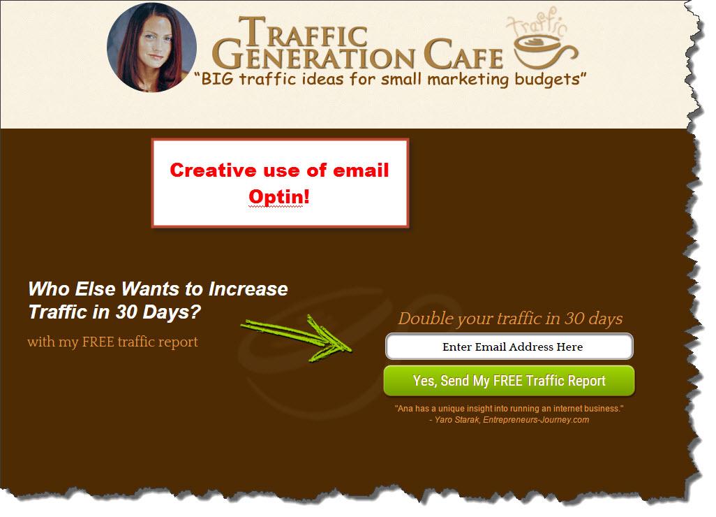 Traffic Generation Cafe's email optin