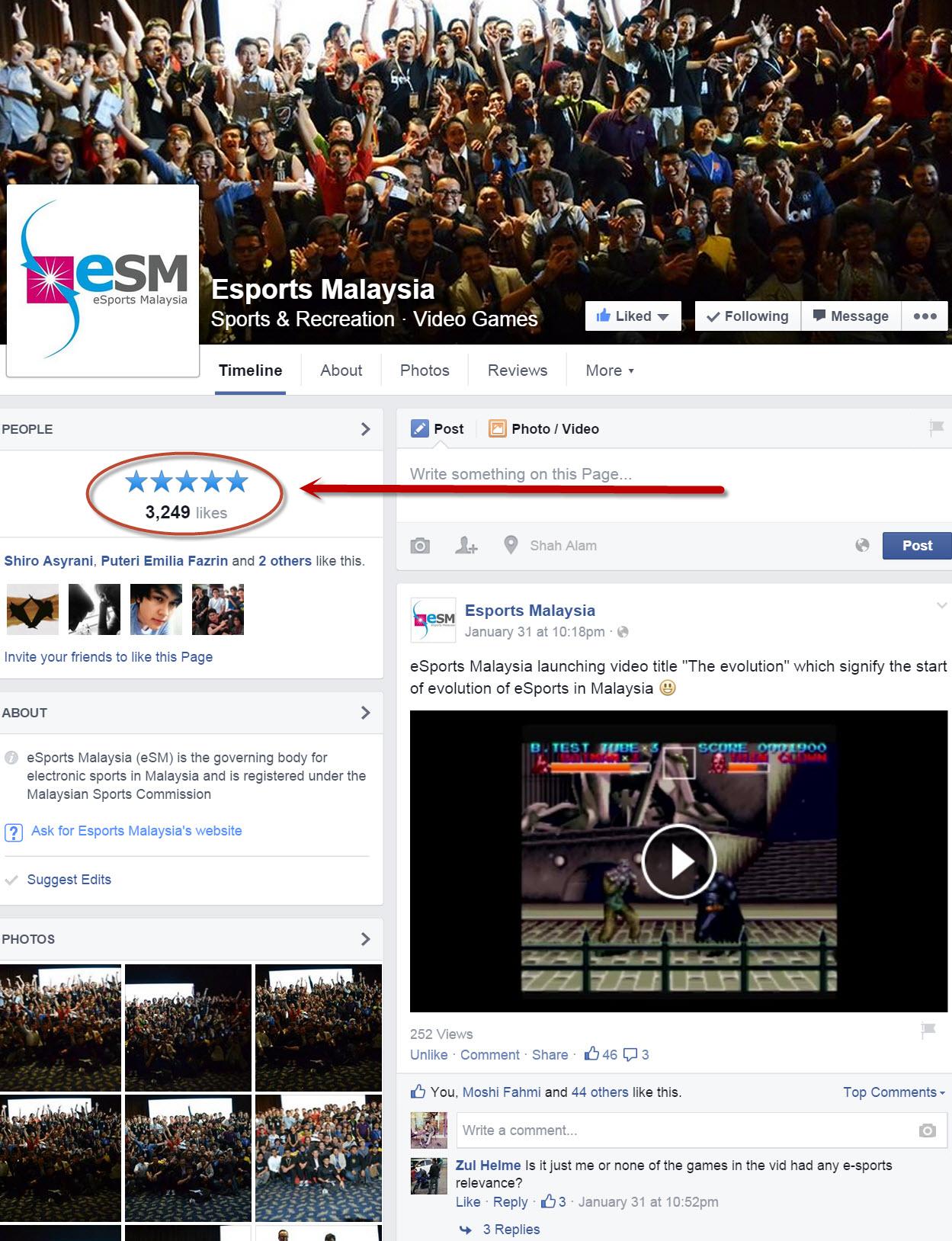 eSports Malaysia FB page
