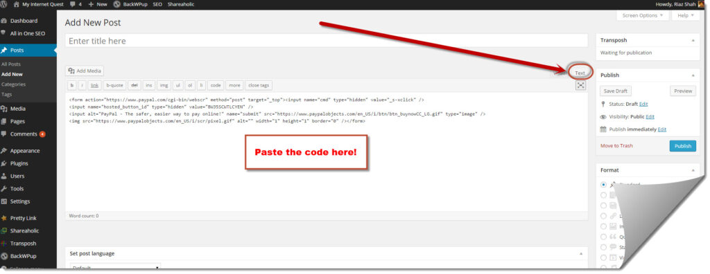 Pasting the buy now button code in text format