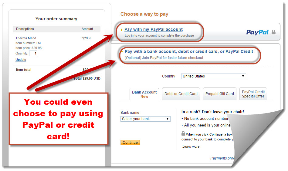 PayPal's choice of payment