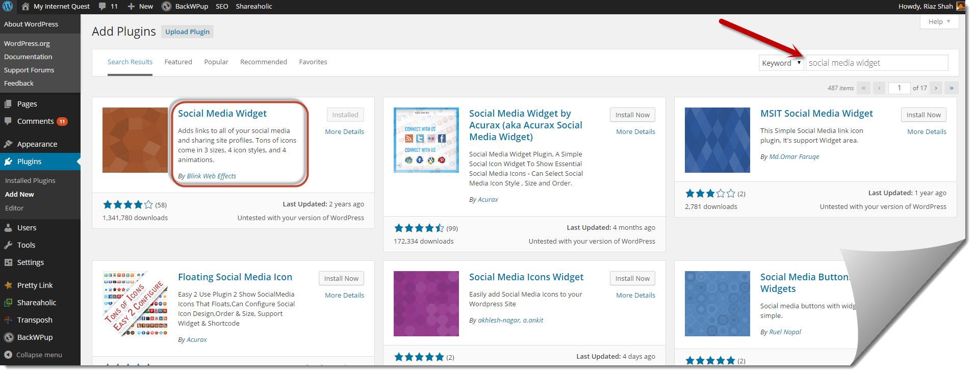 installing social media widget