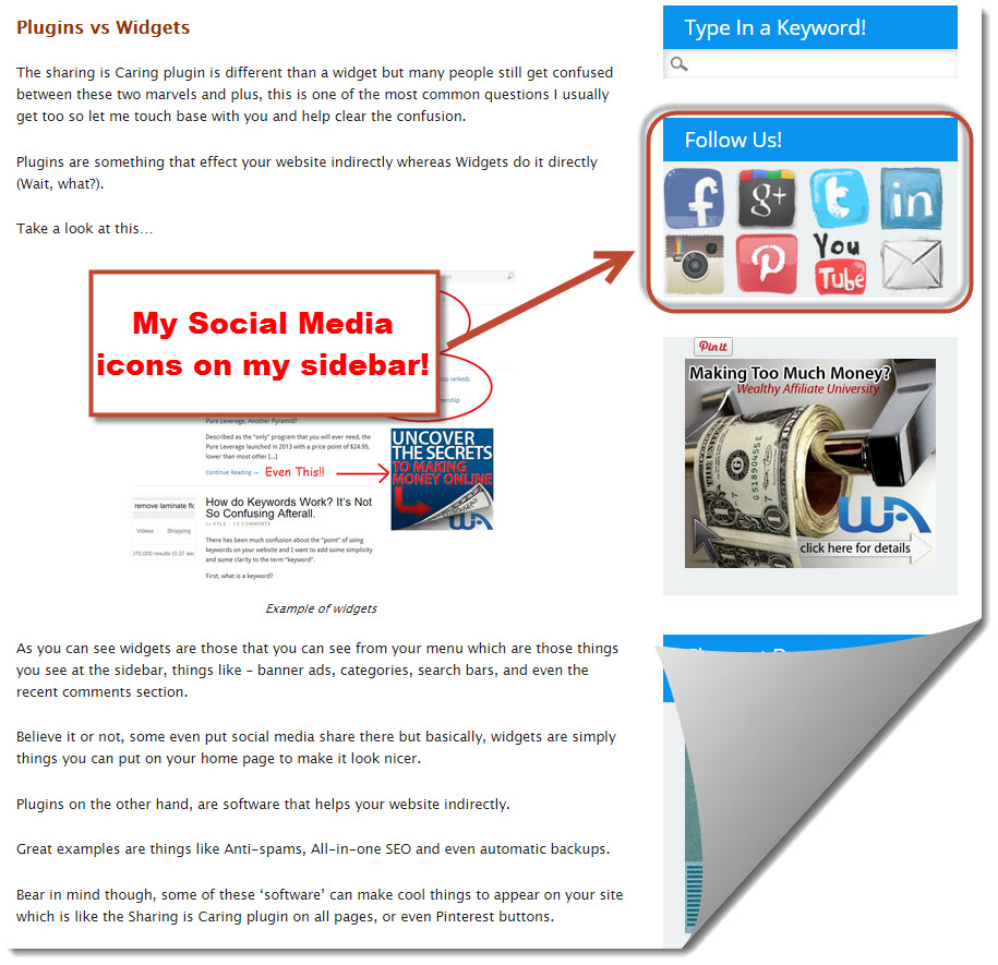 social media icon on sidebar