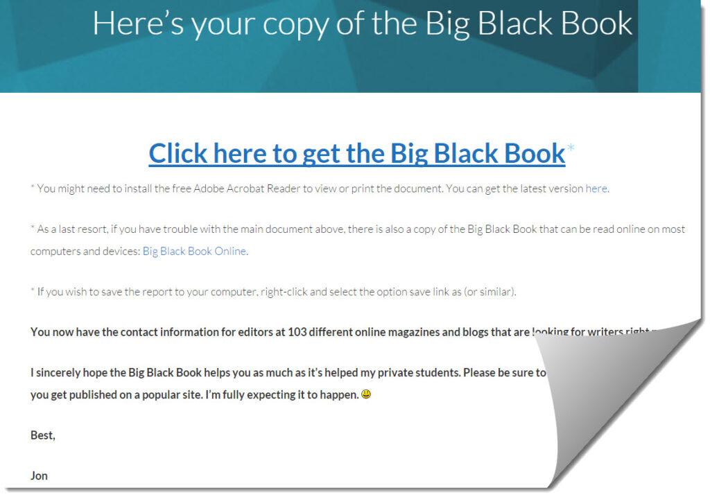 Big black book cover