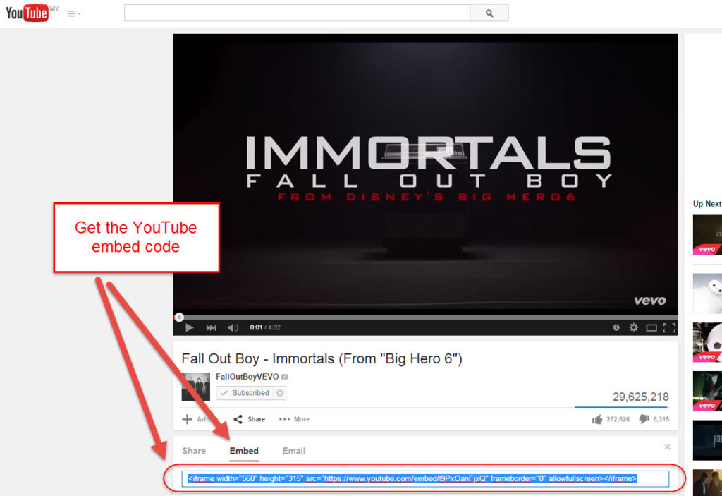Get the YouTube embed code