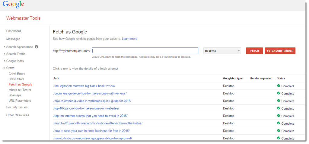 Google Webmaster for My Internet Quest