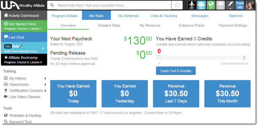 Wealthy Affiliate earnings for 31 March 2015