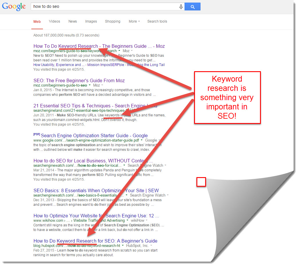 google search results for how to do seo