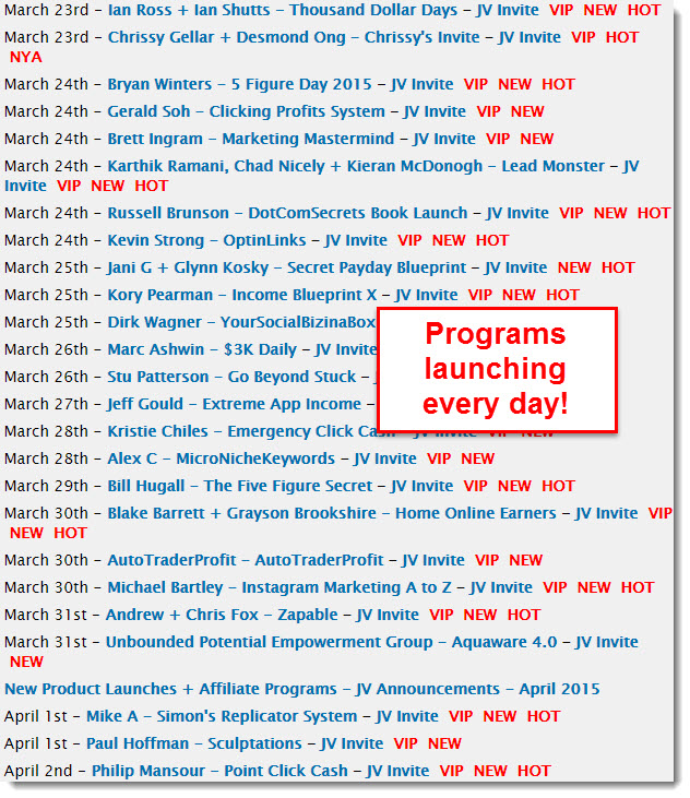 list of programs launching