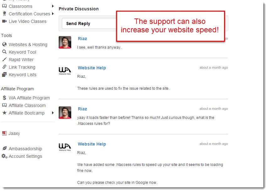 wealthy affiliate increased my website speed