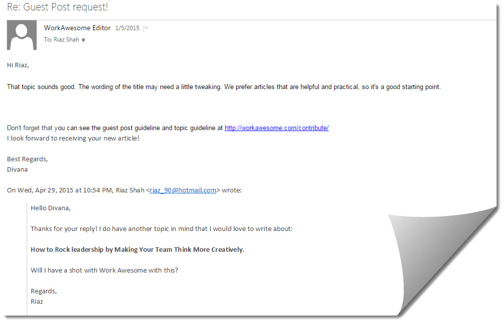 Guest post email with Work Awesome