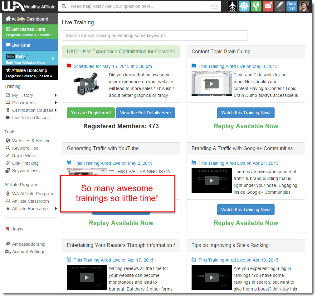 Wealthy Affiliate Live training