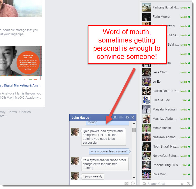 facebook word of mouth