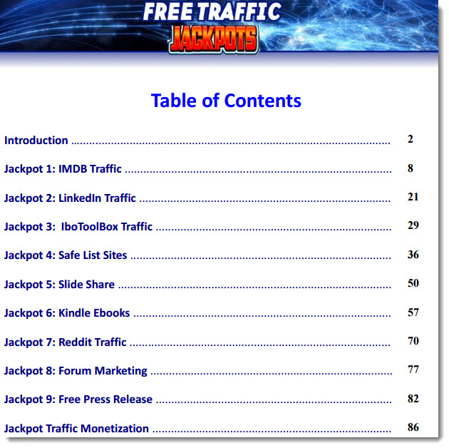 free traffic jackpot table of contents