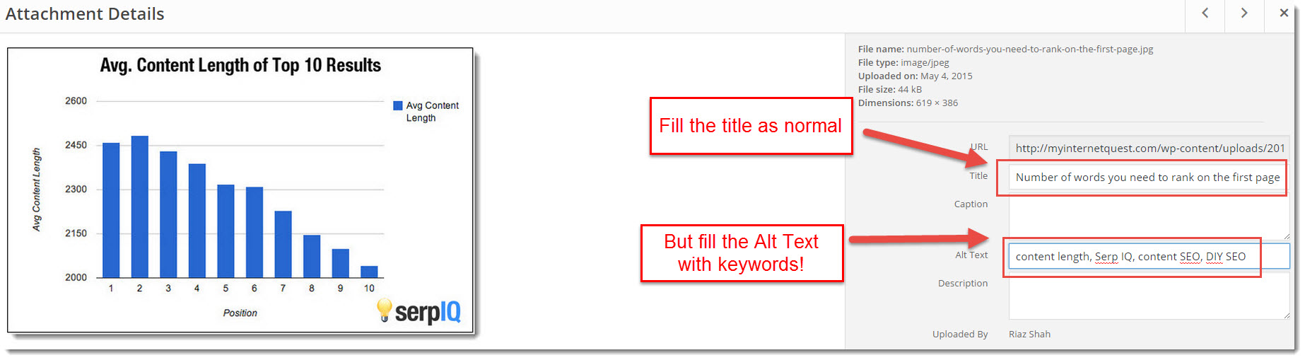 how to fill in alt text