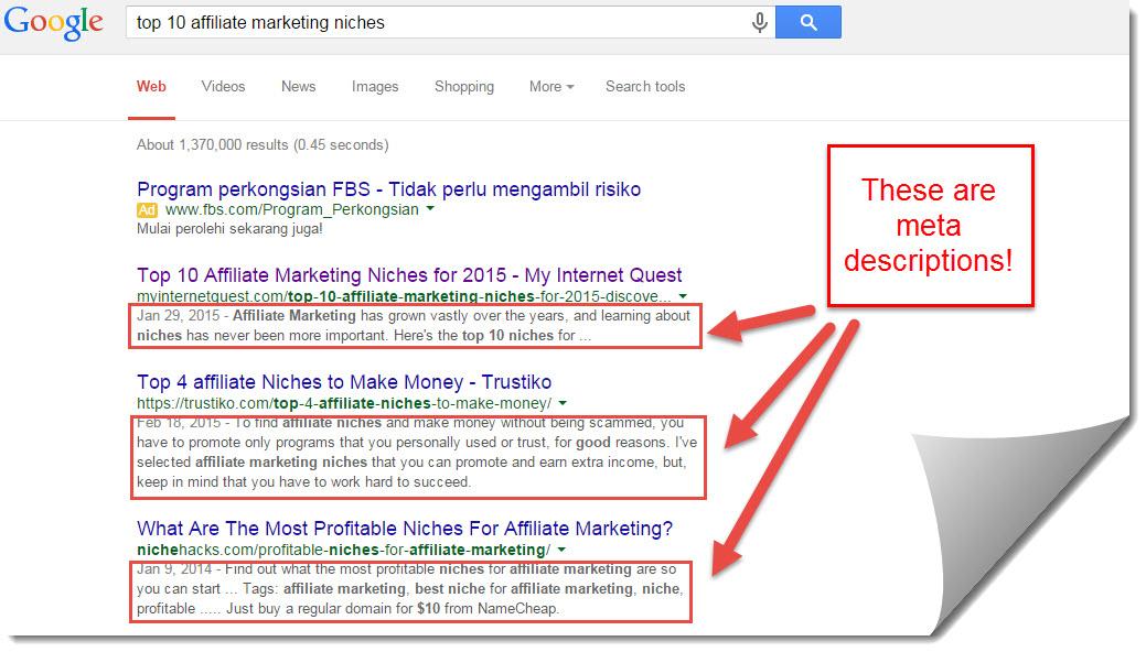 meta decriptions for affiliate marketing niches