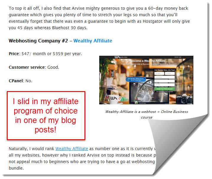 wealthy affiliate as one of the recommended webhosts
