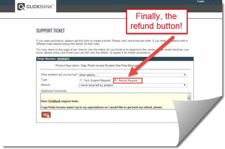 clickbank refund ticket