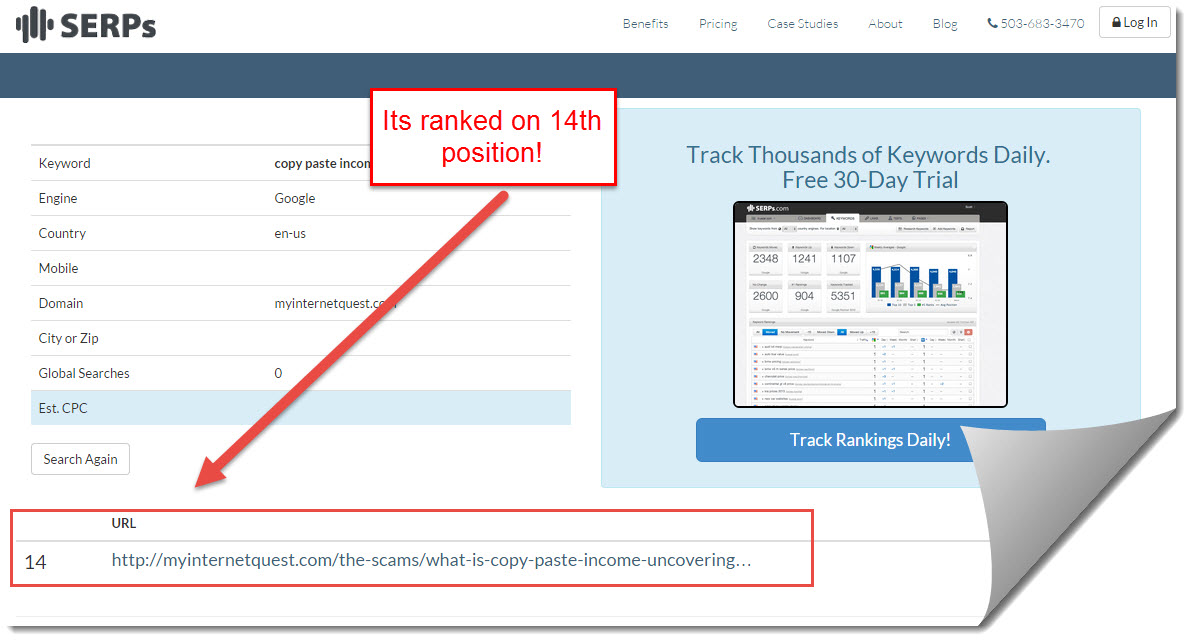 SERPs rank checker results for copy paste income review