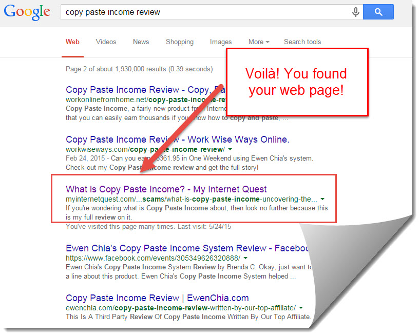 google search results for Copy paste income review