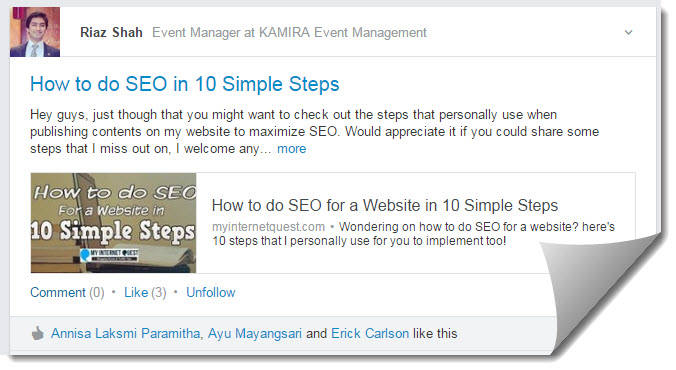 linked in for how to do seo social share