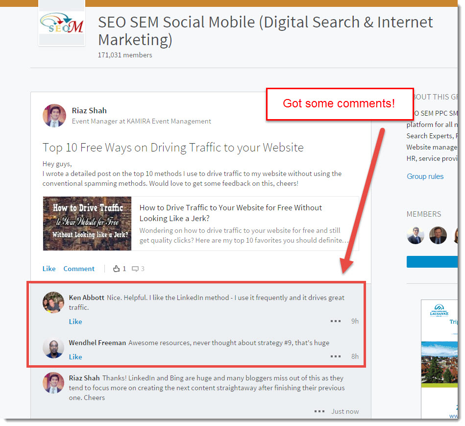 Top 10 free ways on driving traffic to your website shared through LinkedIn