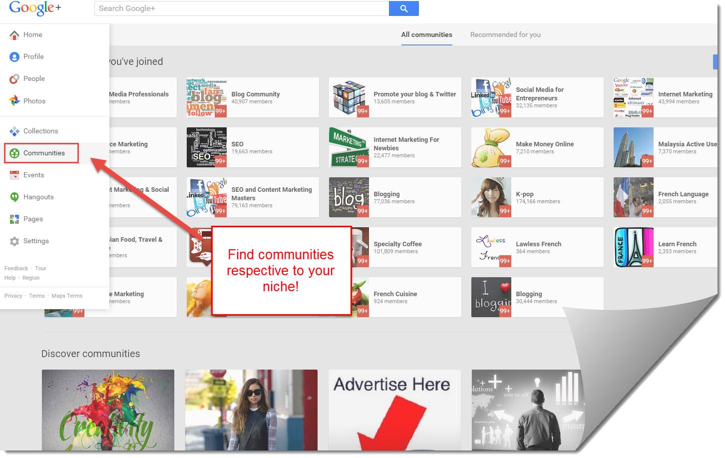 finding communities in Google plus