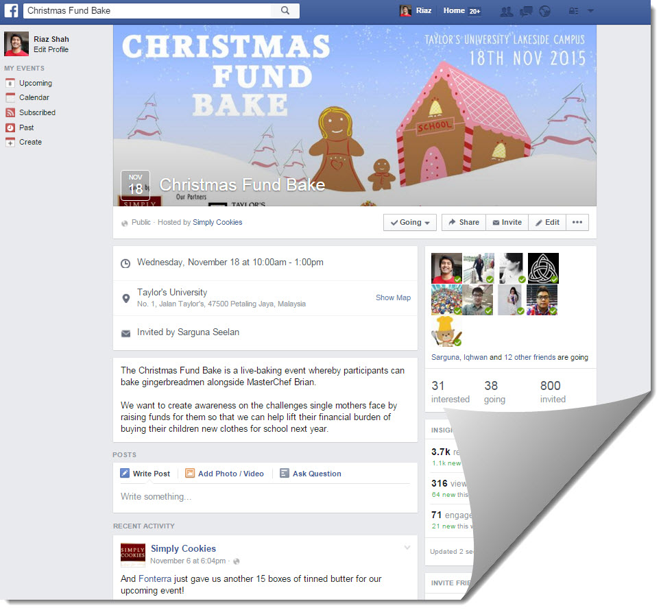 Christmas Fund Bake facebook page