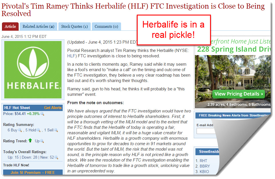 herbalife is in a real pickle