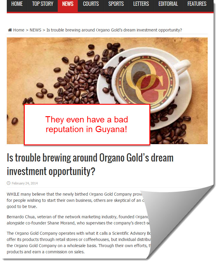 organo gold bad reputation in Guyana