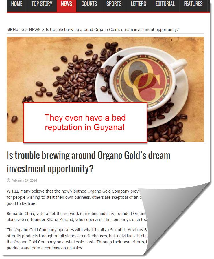 organo gold bad reputation in Guyana
