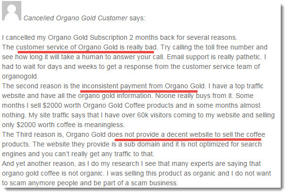 organo gold complaint 1