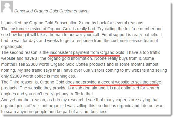 organo gold complaint 1