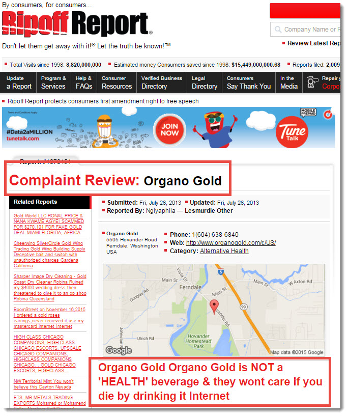 organo gold on ripoff report