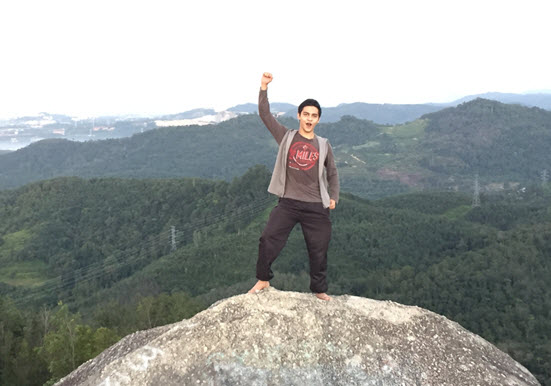 Syed on a rock