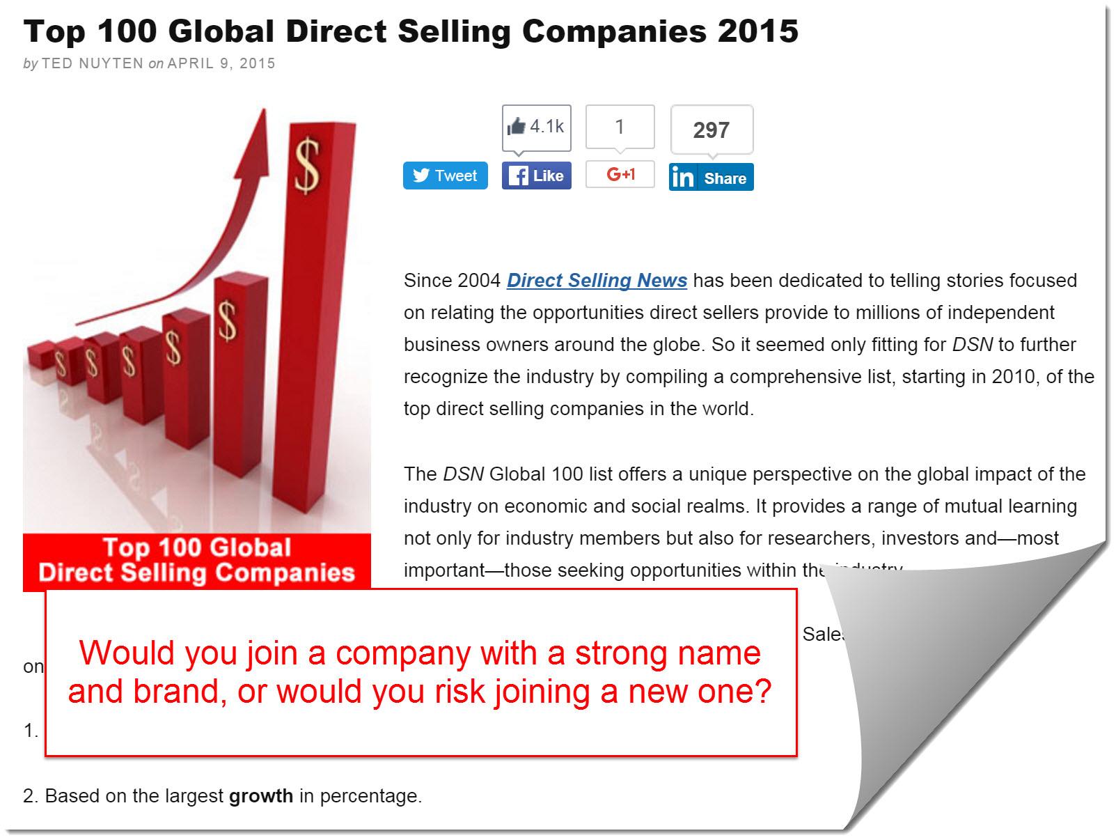 Top 100 MLM companies 2015