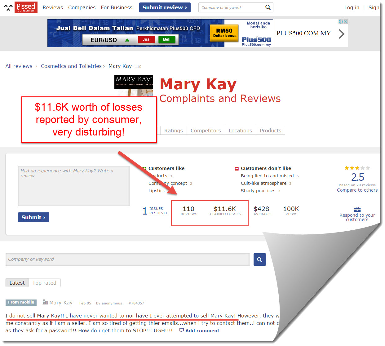 Mary Kay on pissed consumer