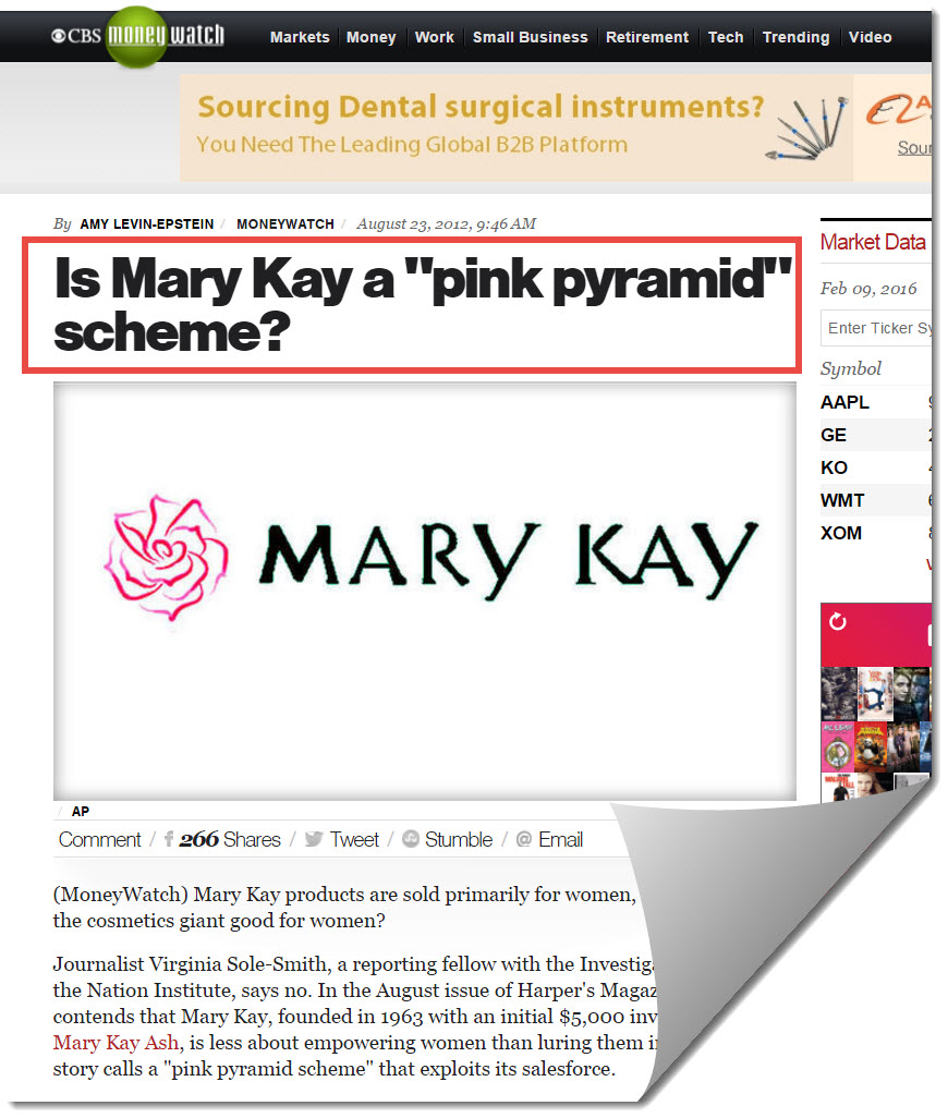 Mary kay on CBS Money Watch