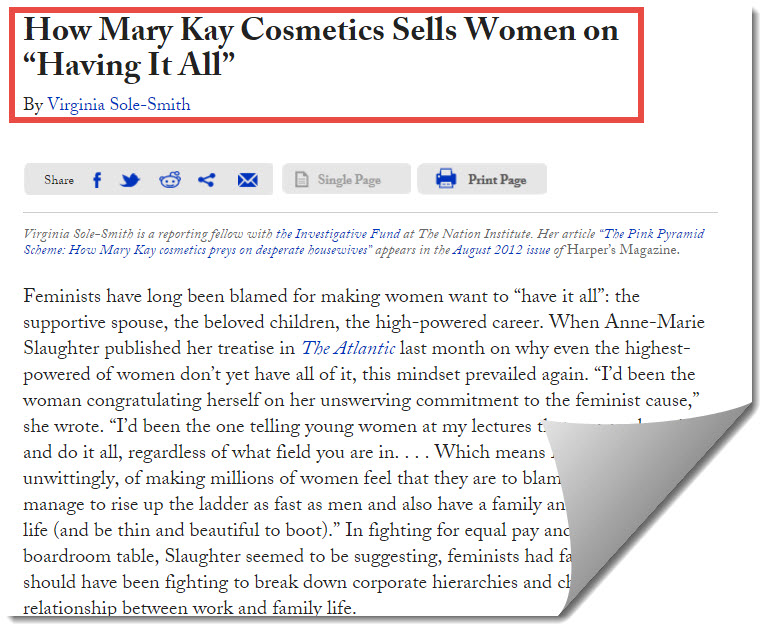 mary kay on harpers magazine