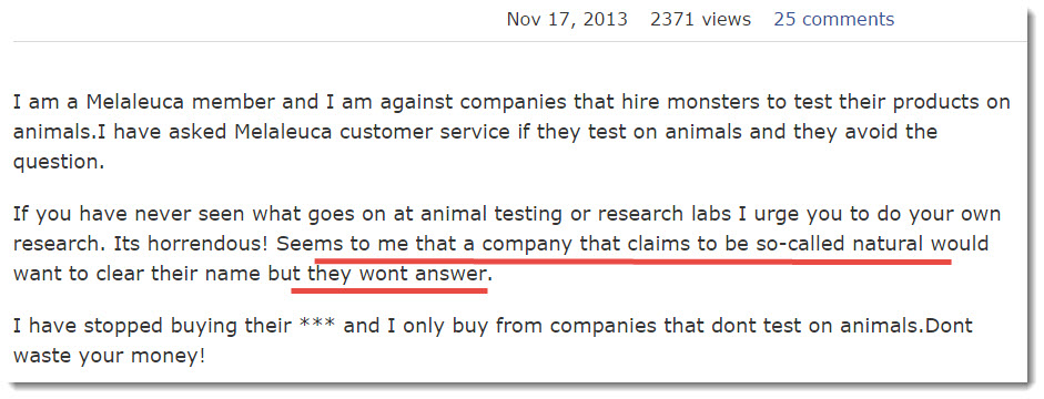 consumer complaint on Animal Testing