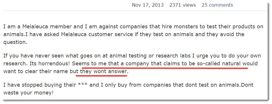 consumer complaint on Animal Testing