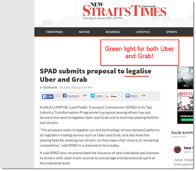 SPAD legalised Uber and grab 2016